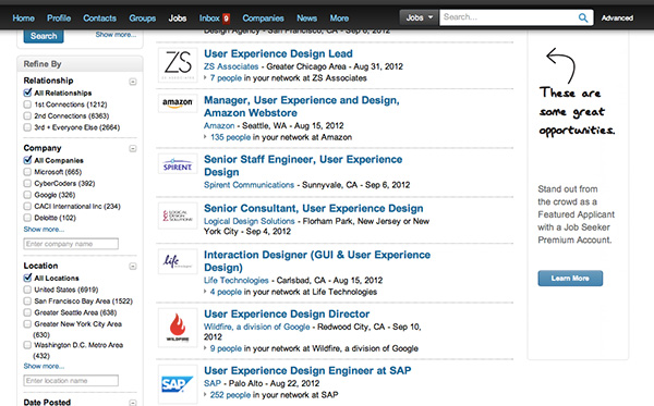 Linked in UX jobs