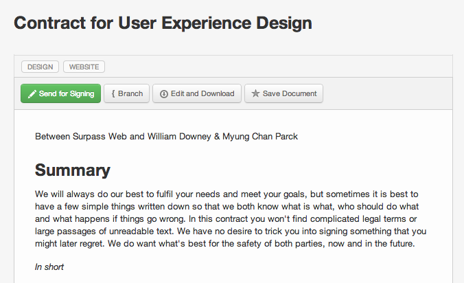 Contract for User Experience Design Work